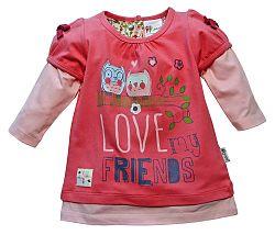 Gelati Dievčenské tričko Love my friends - červené, 68 cm