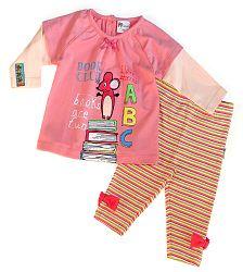 Gelati Dievčenský dvojkomplet trička a legín - ružový, 86 cm