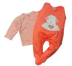 Gelati Dievčenský komplet dupačiek a kabátika s ovečkou - oranžový, 56 cm