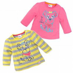 Gelati Súprava 2ks dievčenských tričiek so psíkom, 62 cm