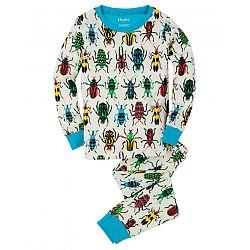 Hatley Chlapčenské pyžamo s farebnými chrobáčikmi - biele, 10 let