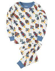 Hatley Chlapčenské pyžamo s raketami - bielo-modré, 8 let