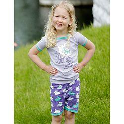 Hatley Dievčenské letné pyžamko, fialovo-zelené, 140 cm