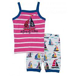 Hatley Dievčenské letné pyžamo s lodičkami - ružovo-biele, 8 let