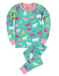 Hatley Dievčenské pyžamo s domácimi zvieratkami - farebné, 8 let