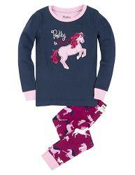 Hatley Dievčenské pyžamo s koníkom - modro-ružové, 7 let