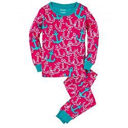 Hatley Dievčenské pyžamo s kotvami - ružové, 7 let