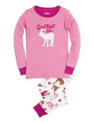 Hatley Dievčenské pyžamo s lankom - bielo-ružové, 6 let