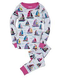Hatley Dievčenské pyžamo s lodičkami - biele, 7 let