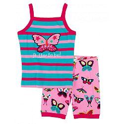 Hatley Dievčenské pyžamo s motýlikmi - tyrkysovo-ružové, 6 let