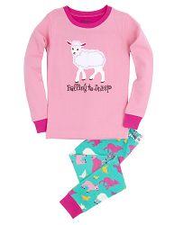 Hatley Dievčenské pyžamo s ovečkou - farebné, 8 let