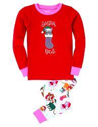 Hatley Dievčenské vianočné pyžamo s mačičkou - červeno-biele, 8 let