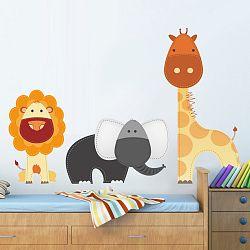 Housedecor Samolepka na stenu Lev, žirafa a slon