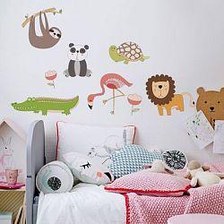 Housedecor Samolepka na stenu Maľované zvieratká z džungle