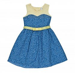 Joe and Ella Fashion Dievčenské šaty Lena kvetinové - modro-žlté, 134 cm