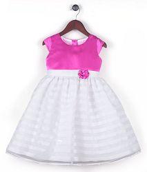 Joe and Ella Fashion Dievčenské šaty Lizzy - ružovo-biele, 122 cm