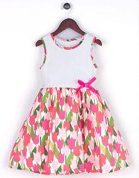 Joe and Ella Fashion Dievčenské šaty Lydia - ružovo-biele, 128 cm
