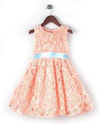 Joe and Ella Fashion Dievčenské šaty Magpie - lososové, 110 cm