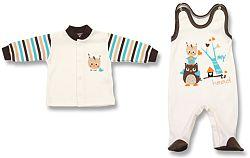 Lafel Chlapčenský set kabátiku a dupačiek Sova - béžový, 68 cm