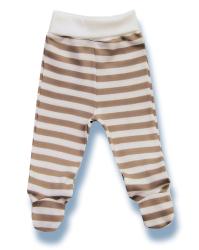 Lafel Detské pruhované polodupačky Macko - bielo-hnedé, 68 cm