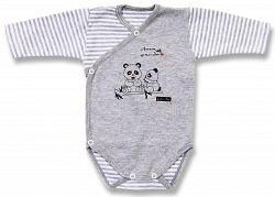 Lafel Detské zavinovacie body Panda - šedé, 68 cm