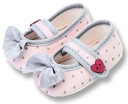 Lafel Dievčenské bodkované topánočky Cat s mašľou - ružové, EUR 18