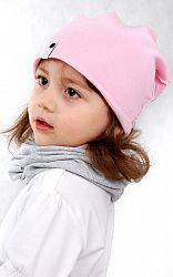 Lamama Detská bavlnená čiapka - pastelovo ružová, 46-48 cm