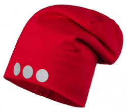 Lamama Detská čiapka s reflexnou potlačou - červená, 40-42 cm