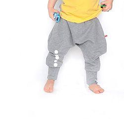 Lamama Detské bavlnené nohavice s reflexným potlačou - šedé 7d499dc3be