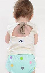Lamama Dievčenský top na zaväzovanie - biely, 0-6 měsíců