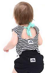 Lamama Dievčenský top na zaväzovanie, pruhovaný - modro-biely, 1-2 roky