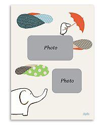 Lilipinso Súprava papierových fotorámčekov, 3 kusy - slon a vtáčik, 13x18 cm