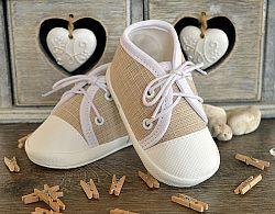Lola Baby Detské topánočky na šnúrky - béžové, EUR 19