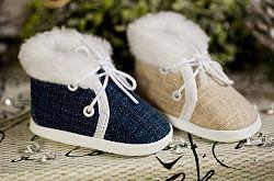 Lola Baby Detské topánočky s kožušinkou - tmavo modré, EUR 19