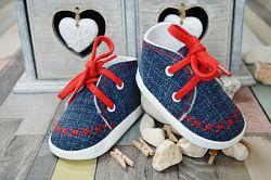 Lola Baby Detské topánočky s výšivkou - modro-červené, EUR 18