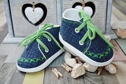 Lola Baby Detské topánočky s výšivkou - modro-zelené, EUR 18