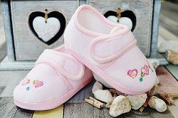 Lola Baby Dievčenské topánočky so srdiečkami a flitre - svetlo ružové, EUR 19