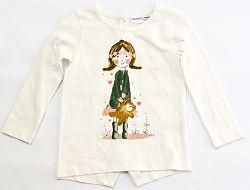 Minoti Dievčenské tričko Pretty 1 s dievčatkom - svetlo béžové, 104-110 cm