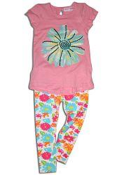 Minoti Dievčenské tričko s legínami Garden - ružové, 86 cm