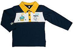 MMDadak Chlapčenské polo tričko s robotom - tmavo modré, 74 cm