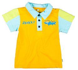 MMDadak Chlapčenské polo tričko Shark - žlté, 116 cm