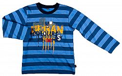MMDadak Chlapčenské pruhované tričko s nápisom - modré, 110 cm