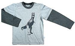 MMDadak Chlapčenské tričko s dinosaurom - šedé, 98 cm