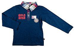MMDadak Chlapčenské tričko s golierikom - tmavo modré, 122 cm