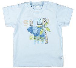 MMDadak Chlapčenské tričko s potlačou slona Safari - svetlo modré, 68 cm