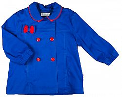 MMDadak Dievčenské krátky kabát s mašličkou KOKARDK - modrý, 68 cm