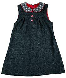 MMDadak Dievčenské šaty s bodkovaným golierikom - tmavo šedé, 110 cm