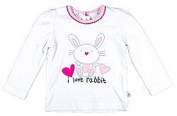 MMDadak Dievčenské tričko s králikom - biele, 74 cm