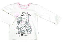 MMDadak Dievčenské tričko s medvedíkom - biele, 116 cm