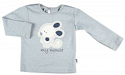 MMDadak Dievčenské tričko s myškou - šedé, 110 cm